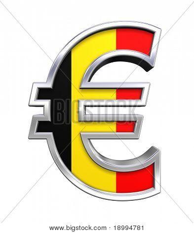 Silver Euro sign with Belgian flag isolated on white. Computer generated 3D photo rendering.
