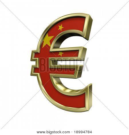 Símbolo del Euro oro con bandera China aislado en blanco. Ordenador genera renderizado 3D foto.