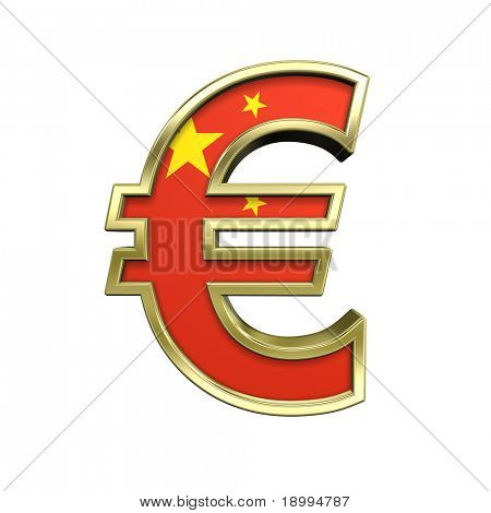 Gold Euro sign with China flag isolated on white. Computer generated 3D photo rendering.