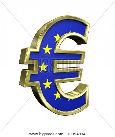 Gold Euro sign with european union flag isolated on white. Computer generated 3D photo rendering.