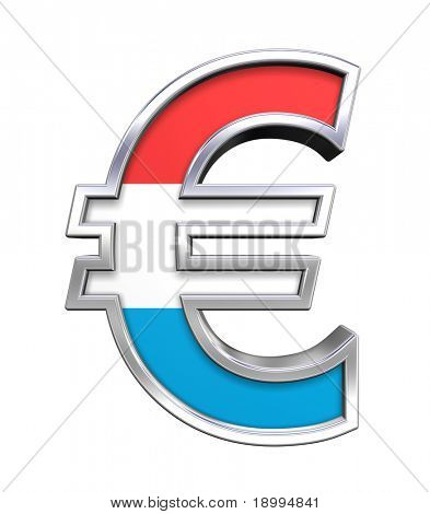 Silver Euro sign with Luxembourg flag isolated on white. Computer generated 3D photo rendering.