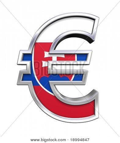 Símbolo del Euro de plata con bandera de Eslovaquia aislado en blanco. Ordenador genera renderizado 3D foto.