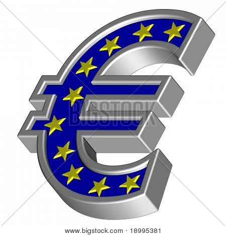 Silver Euro sign with yellow stars isolated on white. Computer generated 3D photo rendering.