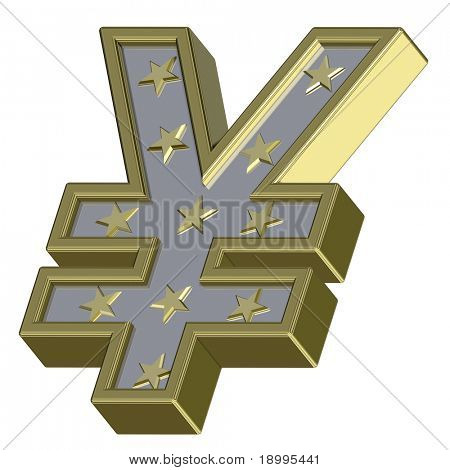 Gold-silver Yen sign with stars isolated on white. Computer generated 3D photo rendering.