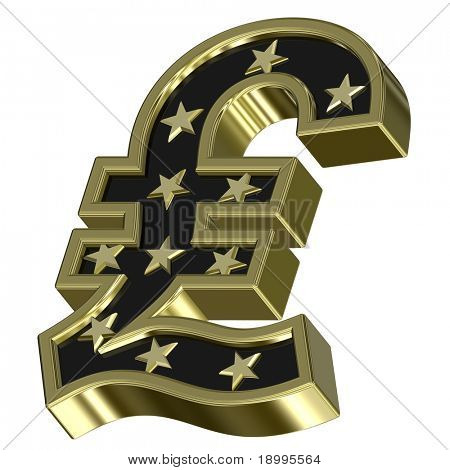 Gold-black Pound sign with stars isolated on white. Computer generated 3D photo rendering.
