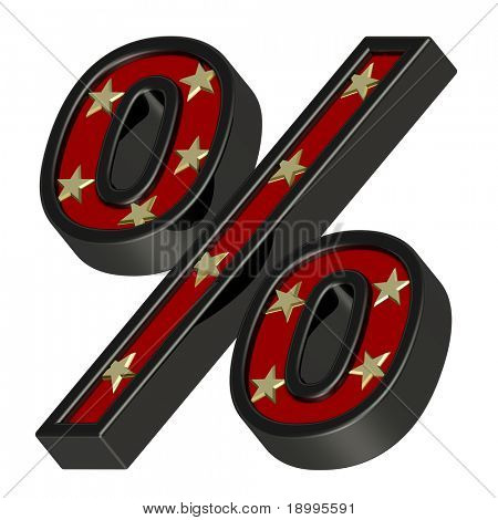 Red-black Percent sign with stars isolated on white. Computer generated 3D photo rendering.