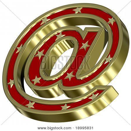 Signo de correo de oro rojo con estrellas aisladas sobre fondo blanco. Ordenador genera renderizado 3D foto.