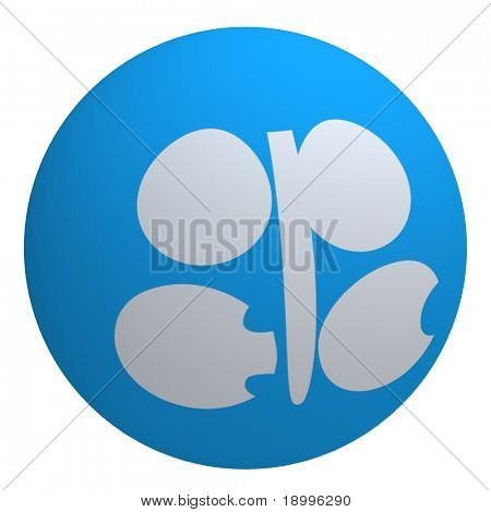 OPEC flag on the ball isolated on white. Computer generated 3D photo rendering.