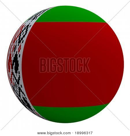 Bielarus flag on the ball isolated on white. Computer generated 3D photo rendering.