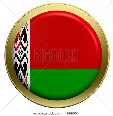 Bielarus flag on the round button isolated on white. Computer generated 3D photo rendering.