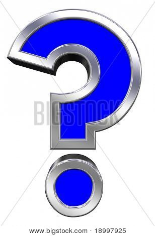 Question mark sign from blue with chrome frame alphabet set, isolated on white. Computer generated 3D photo rendering.