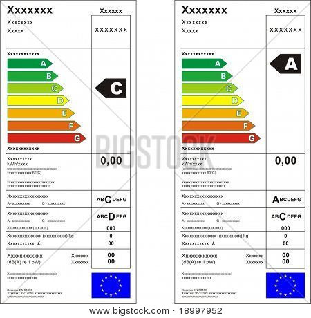 Washing machine energy rating graph label in vector.