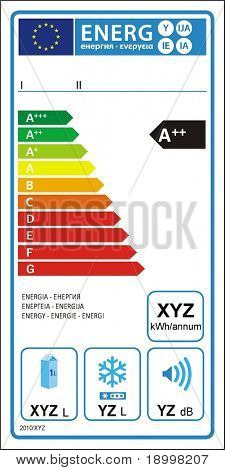 Refrigerator machine new energy rating graph label in vector.