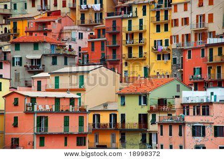 Bunte Textur von Manarola Stadt der Cinque Terre - Italien.