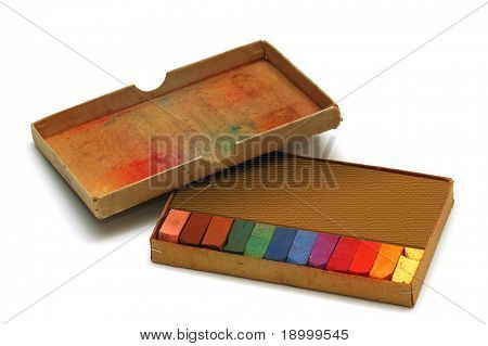 Set of colored chalk with box