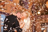 foto of bridal veil  - beautiful caucasian couple just married and dancing their first dance - JPG
