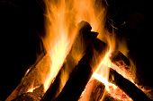 stock photo of guy fawks  - Bonfire on middle cove beach at night - JPG