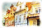 street in old part of prague made in artistic watercolor style with texture. architectural detail