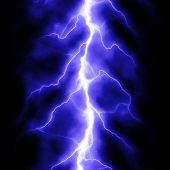 stock photo of lightning bolt  - blue lightning bolt over black - JPG