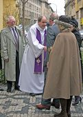 PRAGUE - MARCH 21 Prince Charles + Duchess Camilla arrive St. Clements Anglican-Episcopalian Church,