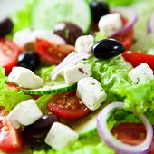 picture of close-up  - Close up of greek salad - JPG