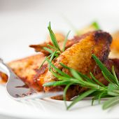 picture of roast chicken  - Roasted chicken wings with rosemary - JPG