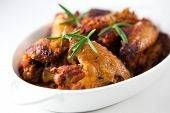 stock photo of chicken wings  - Roast chicken wings - JPG