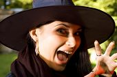 stock photo of minx  - Screaming witch in hat - JPG