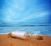 stock photo of memento  - Message in the bottle from ocean - JPG