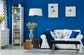 Living Room With Blue Walls poster