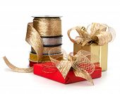 image of rayon  - Festive gift box and wrapping ribbons isolated on white background - JPG