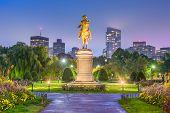 Boston, Massachusetts, USA skyline at the public garden. poster