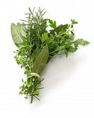 fresh bouquet garni, bunch of herbs isolated on white background poster
