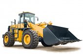 stock photo of movers  - One Loader excavator construction machinery equipment isolated - JPG