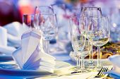 foto of catering service  - catering table set service with silverware - JPG
