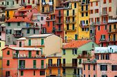 Colourful texture of Manarola city of Cinque Terre - Italy.