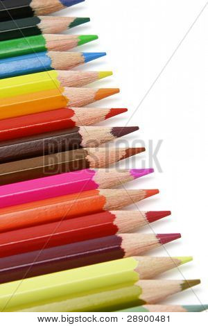 Assortment of color pencils arranged in a row