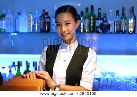 Beautiful Bartender At Work