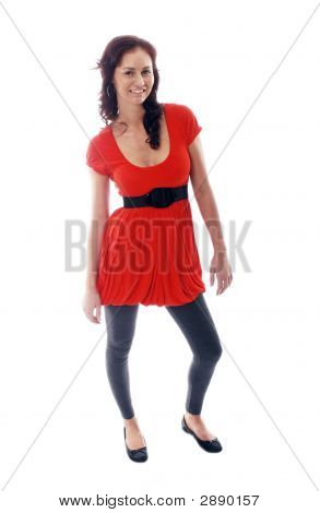 A Girl In Red Top White Background