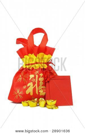 Chinese New Year gift bag, red packets, gold ingots and coins on white background
