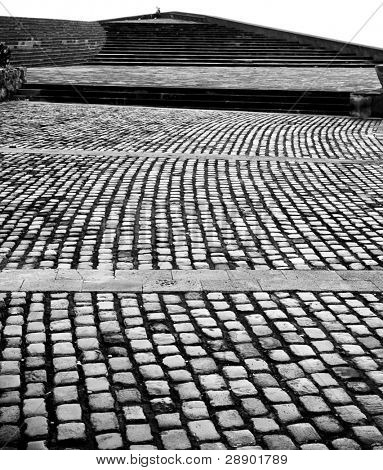 Paved floor in a square of the city Tenerife, Spain.