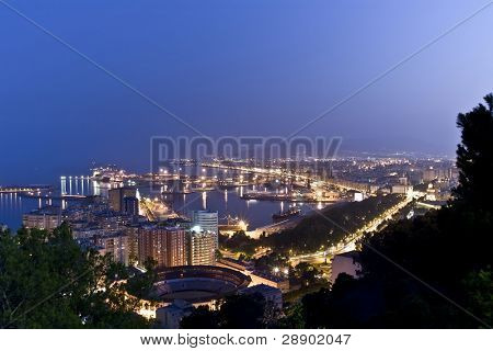 Malaga city from the Gibralfaro castle.