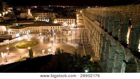 Roman aqueduct at Segovia city.