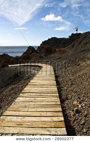 Wood walkway in lava terrain.