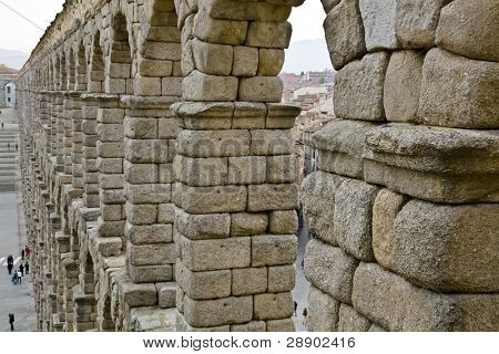 Famous roman aqueduct in Segovia city, Spain.