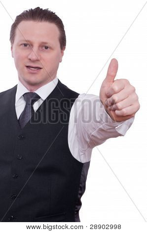 Businessman Is Holding Thumb Up