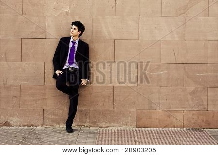 Lone businessman posing on wall