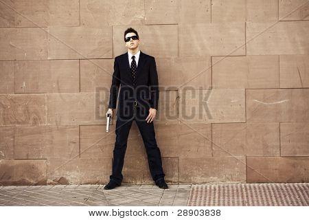 Bewaffneten Agenten über Stadtgebiete