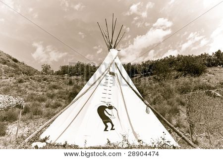 Native American teepee in old style sepia tone.