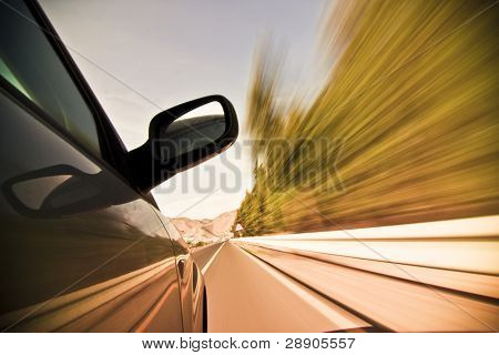 Abstract blurred action from car at high speed